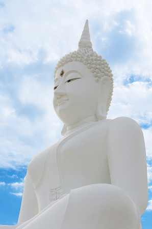 subduing: The White Seated Buddha Image in Attitude of Subduing Mara