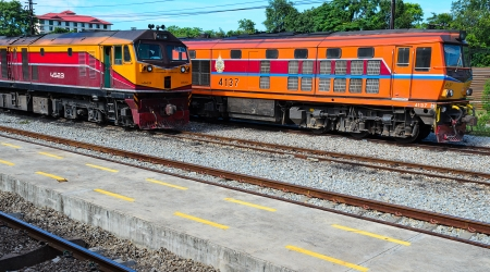 The Engine Train of Thailand at Railway Station  Editorial