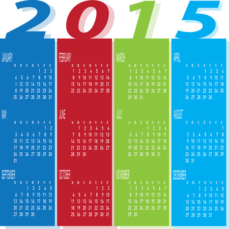 The vector of Year 2015 Colourful Calendar