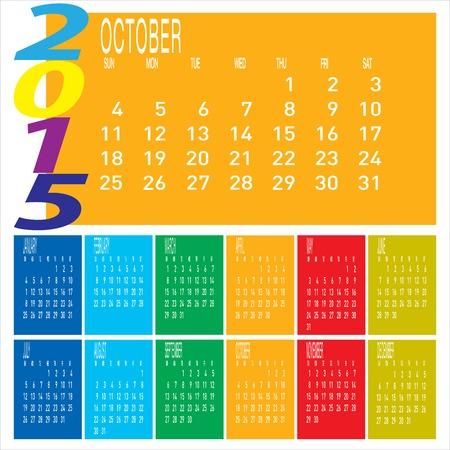 kalender oktober: De vector van het Jaar 2015 Kleurrijke kalender - Oktober Stock Illustratie