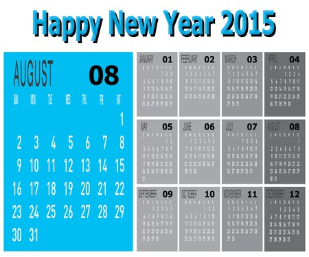 The vector of Happy New Year 2015 - August  Illustration