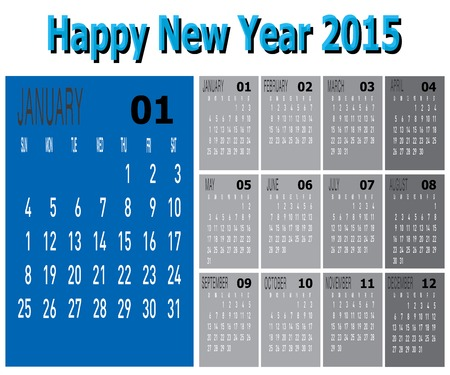 The vector of Happy New Year 2015 - January  Illustration