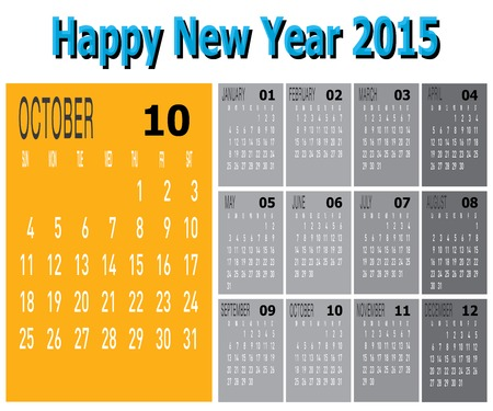 The vector of Happy New Year 2015 - October  Vector
