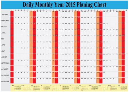 planing: Vector of Planing Chart of All Daily Monthly Year 2015