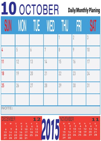 planing: The vector of New Year 2015 - October Daily Monthly Planing