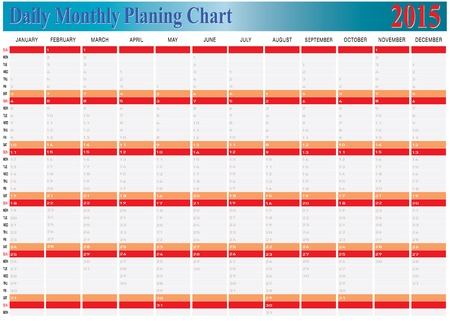 planing: Vector of Daily Monthly Planing Chart Year 2015