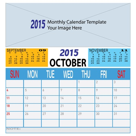 Monthly Year 2015 Colorful Calendar Schadule Template Illustration