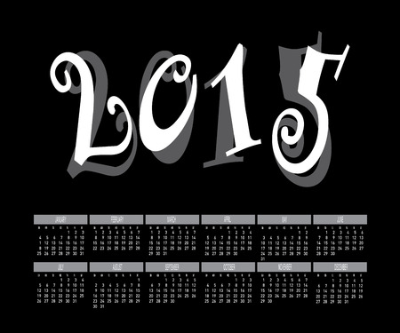 Year 2015 Two Tone Color Calendar Vector