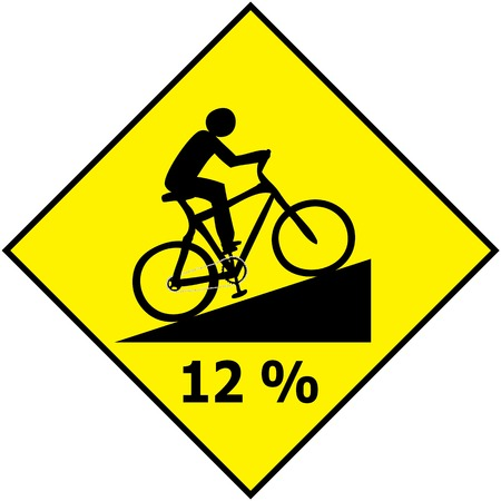 uphill: Vector of Bicycle Traffic Sign Show Uphill Slope Ratio