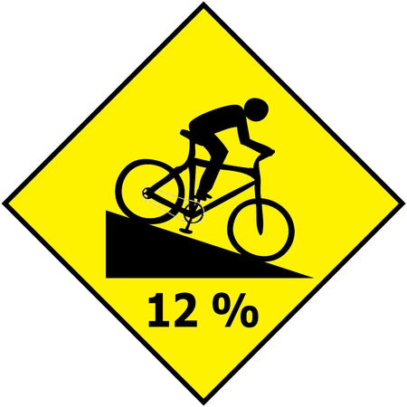 Vector of Bicycle Traffic Sign Show Downhill Slope Ratio  Illustration