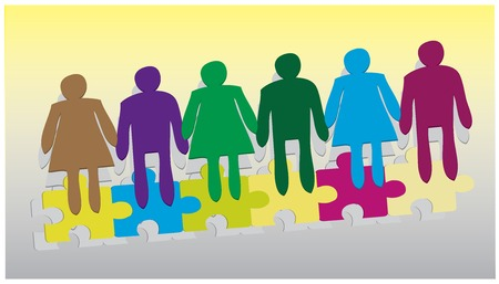 The Join Hands Together Co-Operation Business Vector in colorful  Vector