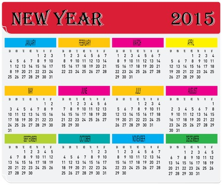 Vector of Year 2015 Monthly Colorful Calendar  Vector