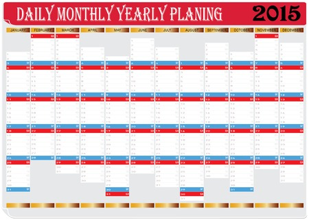 yearly: Vector del gr�fico Planing de All Diaria Mensual Anual 2015 Calendar