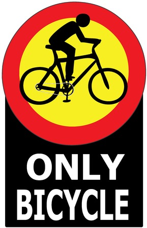 Vector of sign show that it allow only bicycle in this lane or case