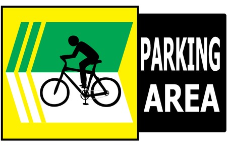 Vector of turn left sign show that it allow only bicycle can park in this area  Illustration