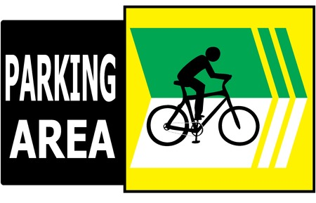 allow: Vector of turn right sign show that it allow only bicycle can park in this area