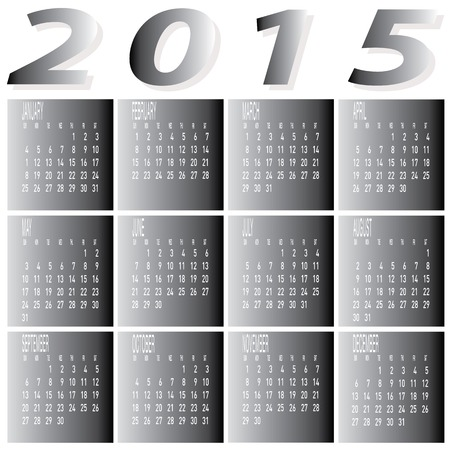 The vector of Monthly Year 2015 Two Tone Calendar