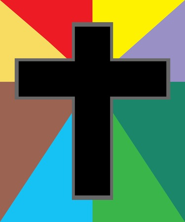 Vector of Black Jesus Cross on Colorful Background