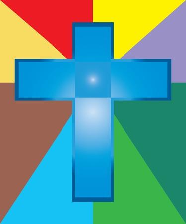 jesus on cross: Vettore di Ges� Croce blu su sfondo colorato