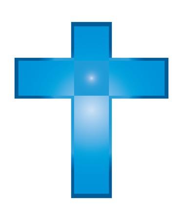 jesus on cross: Il vettore di isolato blu Ges� Croce