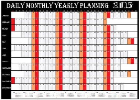 yearly: Vector of Planning Chart of Daily Monthly Yearly 2015