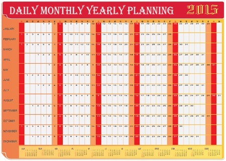 yearly: Vector of Planning Chart of All Daily Monthly Yearly 2015