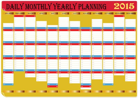 yearly: Vector of Daily Monthly Yearly Planning Chart Year 2015  Illustration