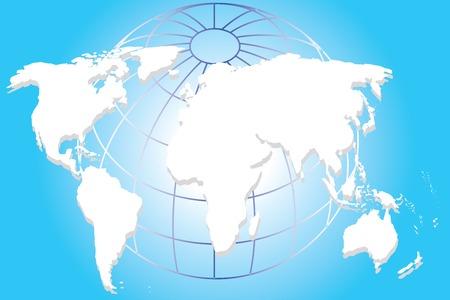 kontinentální: Continental mapa světa na modrém pozadí umění