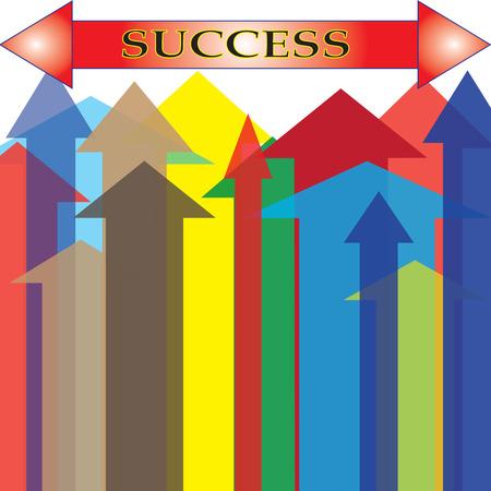 upward: The Colorful Arrow Upward to Success Point  Illustration