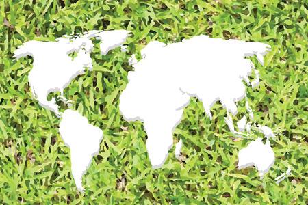 kontinentální: Bílé Continental mapa světa na trávě pozadí.