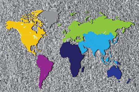 kontinentální: Barvitý Continental mapa světa.