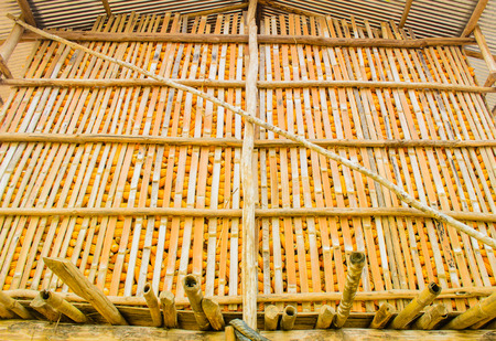 The Barn of Corn made from wood and bamboo. Stock Photo