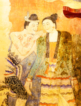 The Whisper of Ancient Painting Wall Art in Temple. Editorial