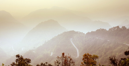 The Mountain Landscape View and Mist in the north of of Thailand. Stock Photo