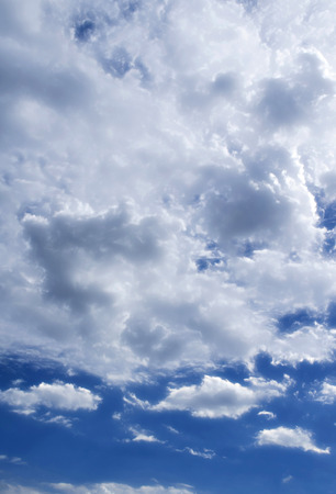 The Cloudscape of Fluffy Cloudy Blue Sky. Stock Photo