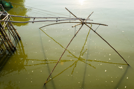 The Square Fish Net in local Canal. Stock Photo