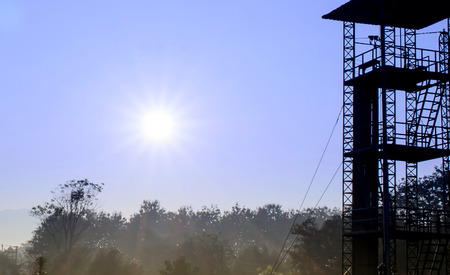 The Sunrise and 34-foot tower to practice Parachute Dril.