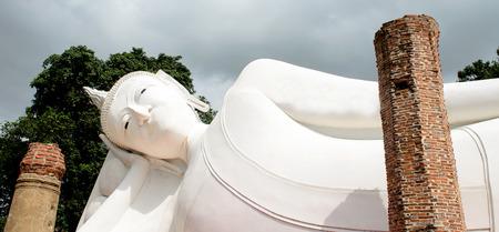 The White Reclining Buddha Image Statue at ancient temple,Wat KhunInthapramun,Ang Thong,Thailand.