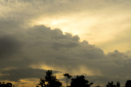 The Storm Cloudy Sky Before Raining in Evening. Stock Photo
