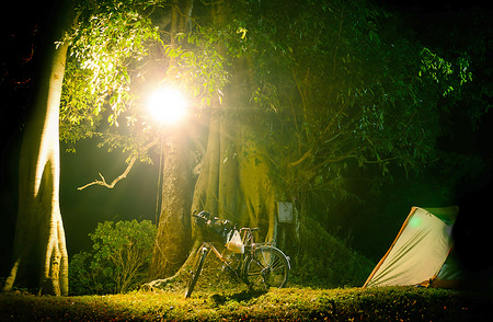 The Bicycle Touring Camping at Night Time.