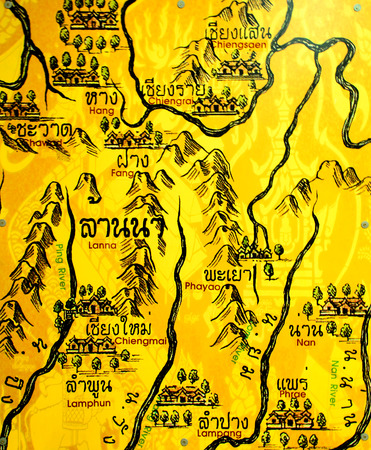 The Ancient Map of Lanna,Northern of Thailand.
