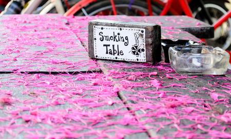 The Smoking Table Area and Ashtray. Stock Photo