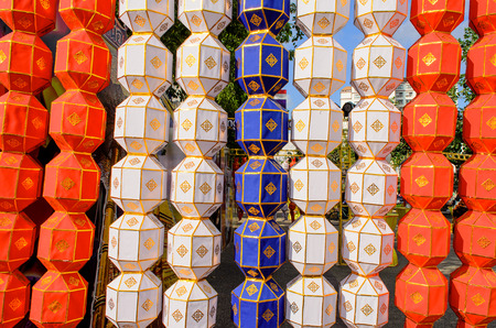 The Colorful Hanging Paper Lantern in Festival of Thailand