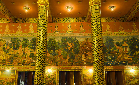 The Thai Mural Painting about Buddha