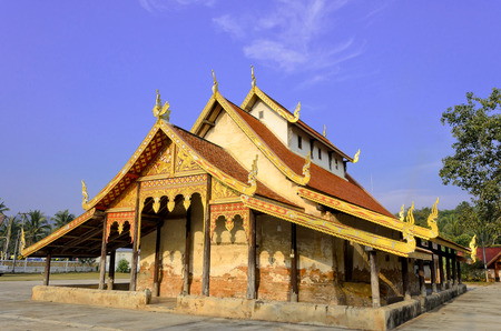 The Old Thai Buddhist Temple and Blue Sky.