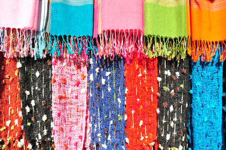 The Colorful of Handmade Clothes of Karen Tribe in Thailand. Stock Photo