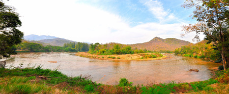 The Big Bend on River Panorama of Thailand Landscape at Maejam river,Hod district,Chiang Mai province,Thailand.