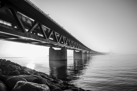 The Oresund bridge link between Malmo and Copenhagen.