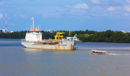 dredging: Dredging Vessel in Chaopraya river