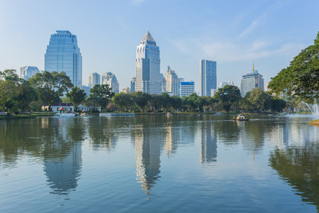 circumstance: Bangkok Cityscape from Lumpini Park, Thailand at the morning circumstance and business district view
